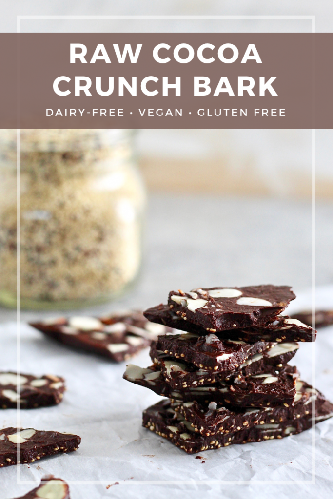 This raw cocoa crunch bark is the perfect recipe for a lightly sweetened, instant chocolate fix. The quinoa adds protein, whole grains, and a wonderful crunch. Choose toppings of your choice to make it your own!