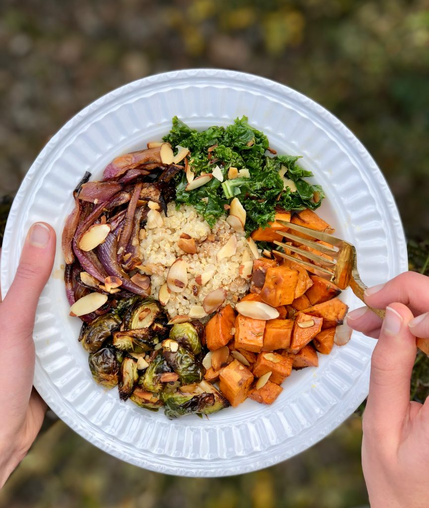 This seasonal Sweet Potato and Brussels Sprout Buddha Bowl is the perfect comfort recipe for fall. It is packed with nutrients and flavor. Plus, it's gluten-free and vegan! #vegan #glutenfree #maindish #buddhabowl #seasonal #CheerfulChoices