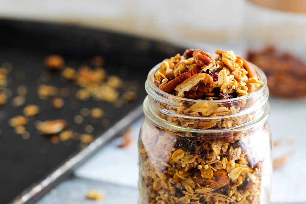 Quinoa Crunch Granola. Perfect to throw over yogurt, top over a baked apple, or simply eat on its own for a snack! Gluten-free, vegan, and whole grain.
