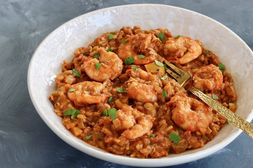 This Shrimp Jambalaya is a creole classic with a healthy twist including whole grains, impressive protein, varying veggies, and incredible flavor!