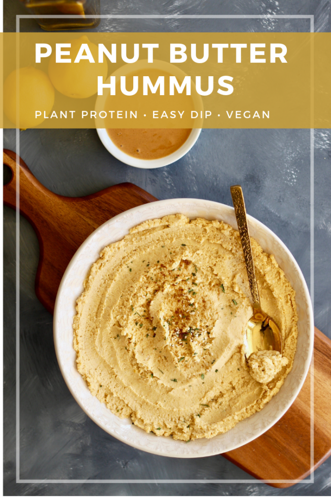 Whip up this healthy peanut butter hummus in 10 minutes or less with ingredients right from your pantry. No tahini needed!