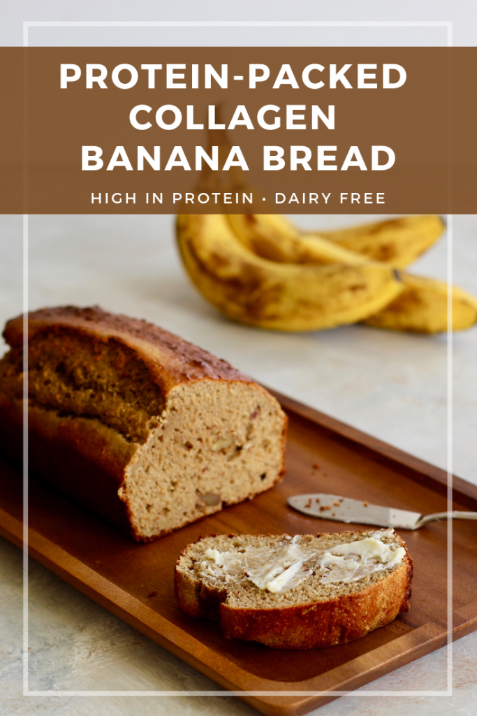 This Protein-Packed Collagen Banana Bread is a healthy twist on the classic loaf–including whole grains, impressive protein, and no added sugar! Naturally sweetened from dates and overripe bananas.