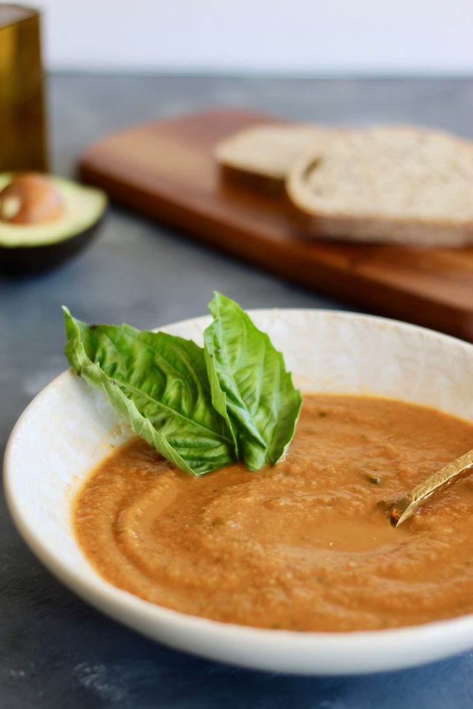 This roasted tomato basil soup calls for tomatoes of your choice so you can use your favorite tomato variety or throw in any canned whole tomatoes you have on hand. Serve with avocado slices, nutritional yeast, and whole grain bread if desired. #tomatoes #vegansoup #comfort food #CheerfulChoices