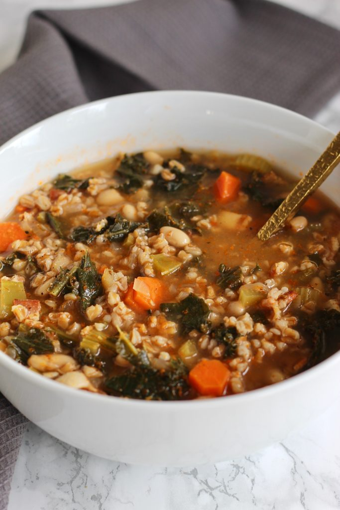 This One-Pot Tuscan White Bean and Farro Soup is the perfect combination of savory protein, hearty whole grains, and nutritious vegetables. Easy to make, quick cleanup, and lots of leftovers!