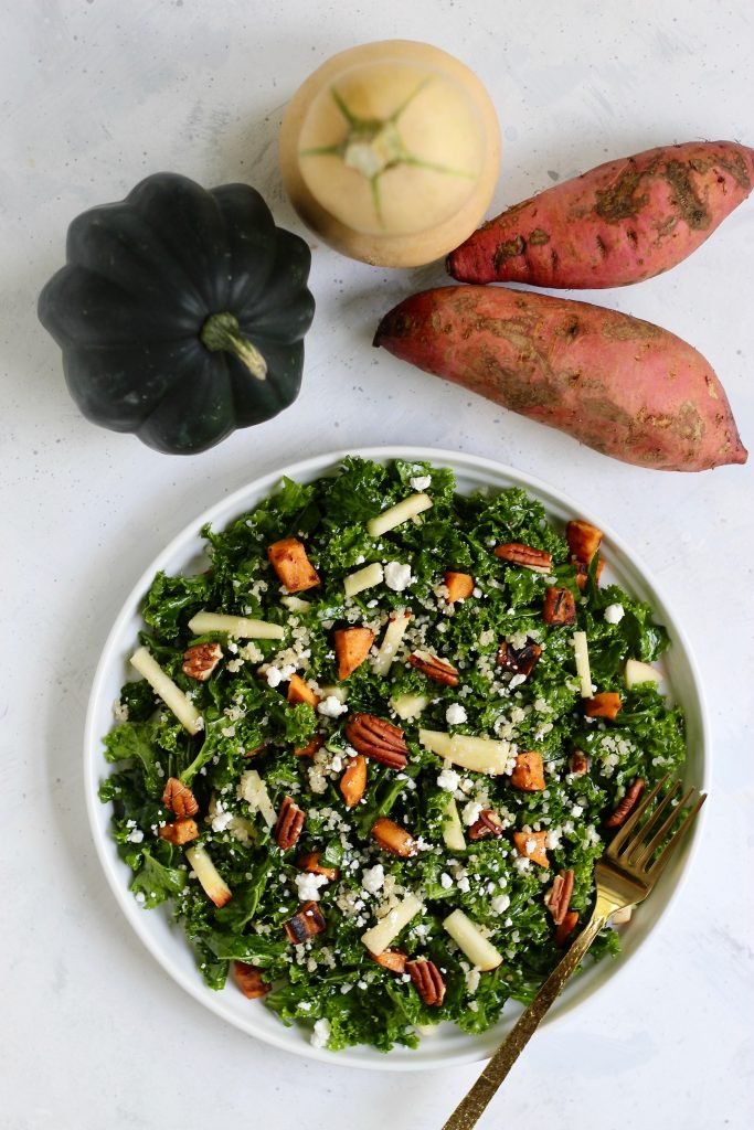This massaged kale salad is the perfect, protein-packed dish. Featuring fall produce of your choice so you can customize with your favorites. Add this recipe to your meal prep routine, holiday table, or party platter! #FallProduce #MassagedKale #HealthySalad #CheerfulChoices