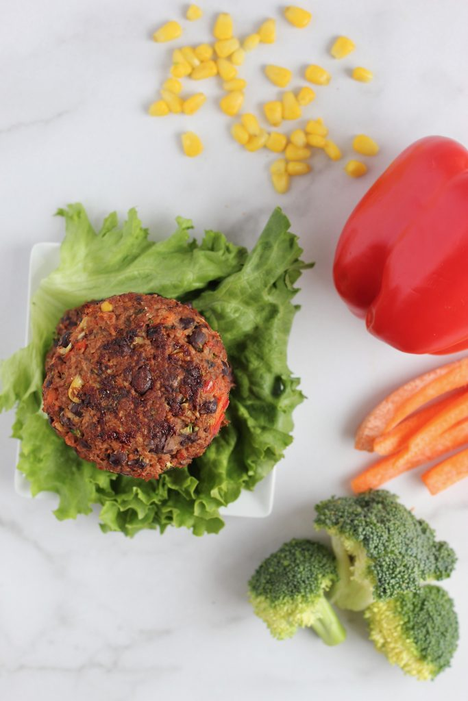 #AD Flavorful veggie burgers are easier than ever in this 20-minute recipe with only 3 main ingredients. These patties are packed with protein and stick together just like regular meat! #PlantPoweredProtein #vegan #glutenfree #CheerfulChoices
