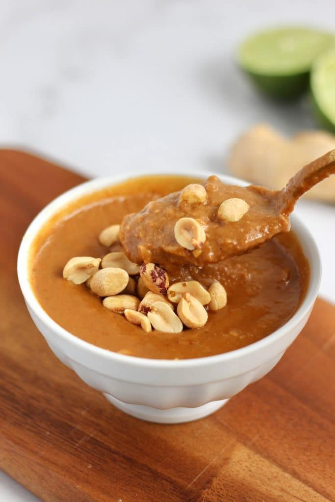 Looking for a flavorful sauce to add to everything from noodles to salads, to meal prep bowls? Try this easy Thai Peanut Sauce– no blender needed! Video included showing how simple it is to make. #peanutsauce #onebowl #10minuterecipe #CheerfulChoices