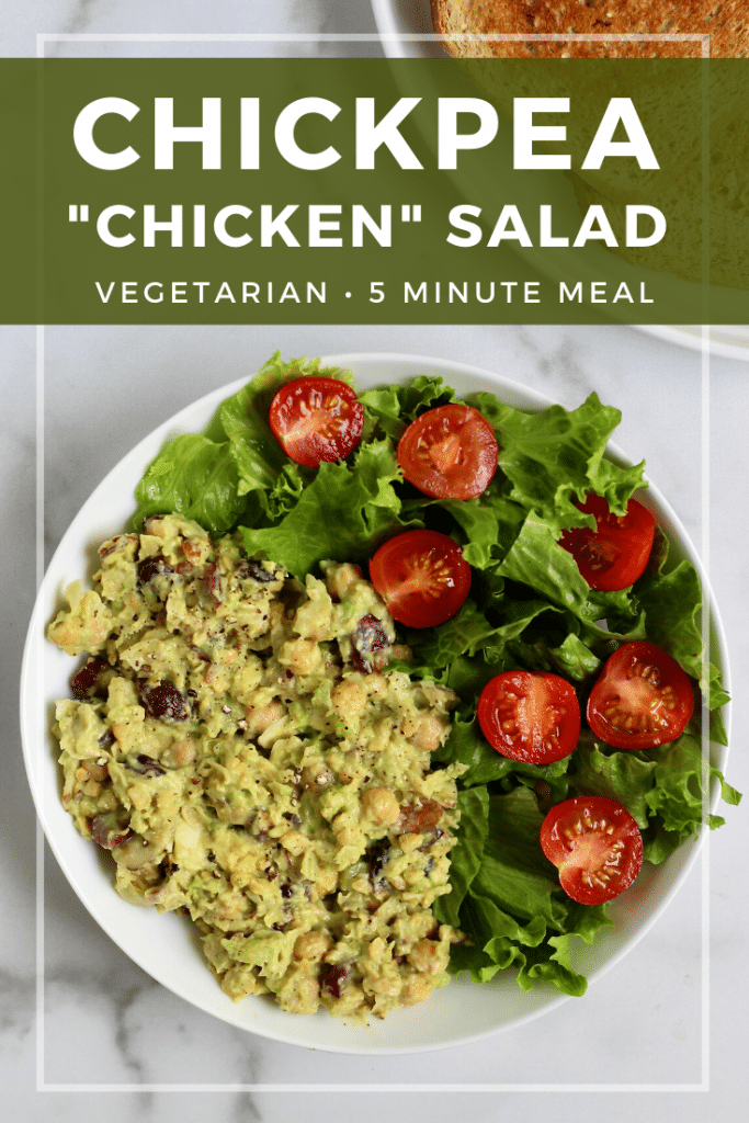 """This meatless Chickpea """"Chicken"""" Salad calls for just a few simple ingredients and comes together in 10 minutes or less. Packed with plant-based protein and perfect for meal prep. It's completely customizable too–meaning you get to choose which add-ins you like best! #MeatlessMonday #Vegetarian #GlutenFree #Chickpeas"""