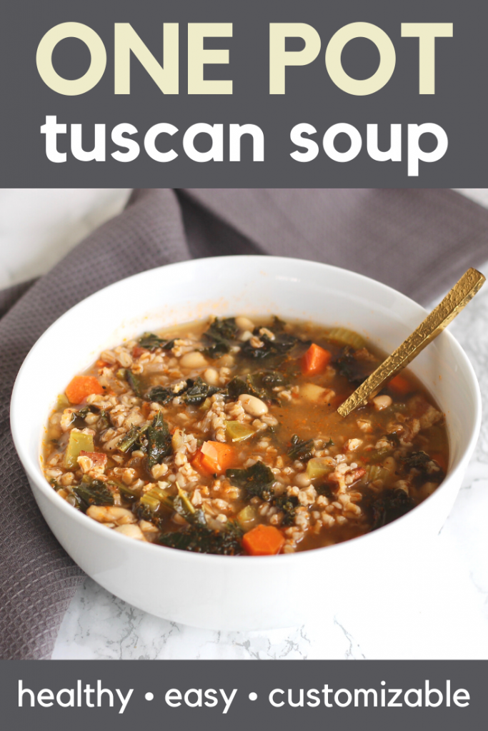 One Pot Tuscan Soup is healthy, easy, and customizable to fit dietary preferences.